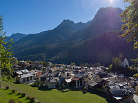 Blick &uuml;ber Unterdorf, Scuol, Unterengadin, Graub&uuml;nden, Schweiz, Europa<br /> Scuol Unterdorf,  Scuol Valley, Engadine, Grisons, Switzerland