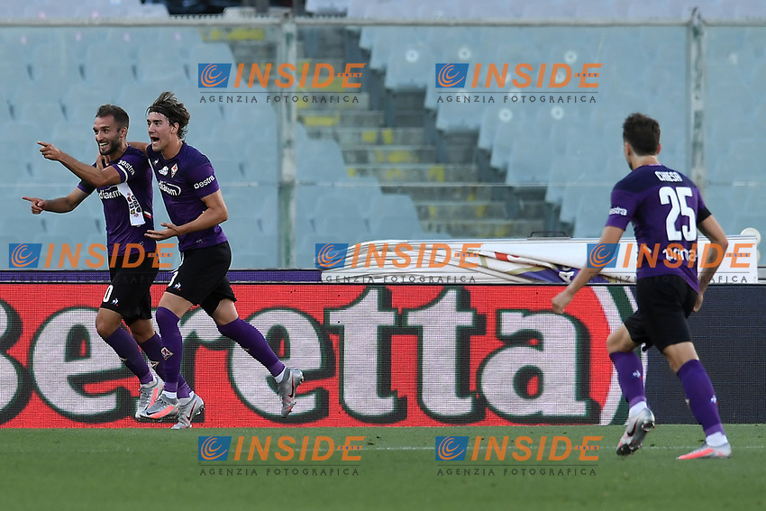 German Pezzella of Fiorentina celebrates with Dusan Vlahovic of Fiorentina after scoring the goal of 1-1 during the Serie A football match between ACF Fiorentina and Brescia Calcio at Artemio Franchi stadium in Florence ( Italy ), June 22th, 2020. Play resumes behind closed doors following the outbreak of the coronavirus disease. <br /> Photo Antonietta Baldassarre / Insidefoto