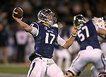 Nevada quarterback Cody Fajardo (17) throws against Fresno State during the second half of an NCAA college football game in Reno, Nev., on Saturday, Nov. 22, 2014. Fresno State won 40-20. (AP Photo/Cathleen Allison)