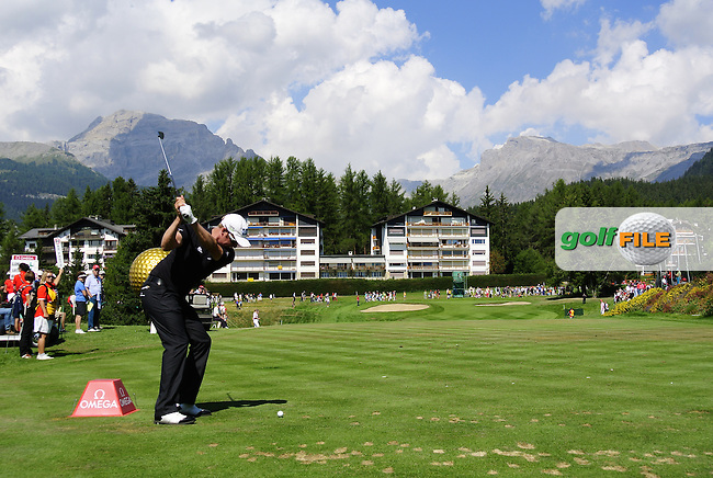 Mikko Ilonen (FIN) tees off the par3 8th tee where a kilo gold bar awaits a hole in 1 during Friday's Round 1 of the 2013 Omega European Masters held at Crans Montana Golf Club, Crans-Sur-Sierre Switzerland. 6th September 2013.<br /> Picture: Eoin Clarke www.golffile.ie