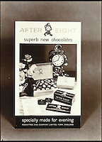 BNPS.co.uk (01202) 558833<br /> Picture: Rowntree's<br /> <br /> One of the earliest advertisments for the After Eight featuring not just the wafer thin mint but also a box and bar as well..<br /> <br /> The chocolatier behind the famous After Eight Mints, Matchmakers, Drifter and Lion bars &nbsp;has died. Brian Sollit was a real-life Willie Wonka who spent his career working for confectionary firm Rowntree's. In the 1960s he was the head of the 'cream' department was tasked with coming up with a new luxurious chocolate that was to be wrapped around a peppermint fondant.&nbsp;He went away and experimented with various shapes and sizes before coming up with the classic wafer thin design that became the After Eight mint.