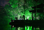 Ngoc Son Temple 02 - Ngoc Son Temple reflected in Hoan Kiem Lake at night, Hanoi, Vietnam