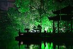 Ngoc Son Temple 02 - Ngoc Son Temple reflected in Hoan Kiem Lake at night, Hanoi, Vietnam