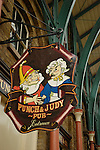 Punch and Judy pub sign in Covent Garden Market, London