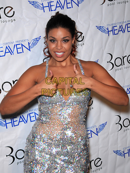 Jordin Sparks .Bare Pool Lounge hosts the White Party Las Vegas, with a live performance by Jordin Sparks, at the Mirage Casino Resort, Las Vegas, NV, USA, .3rd  September 2011..half length silver sheer cleavage dress smiling  beaded thumbs up .CAP/ADM/MJT.© MJT/AdMedia/Capital Pictures.