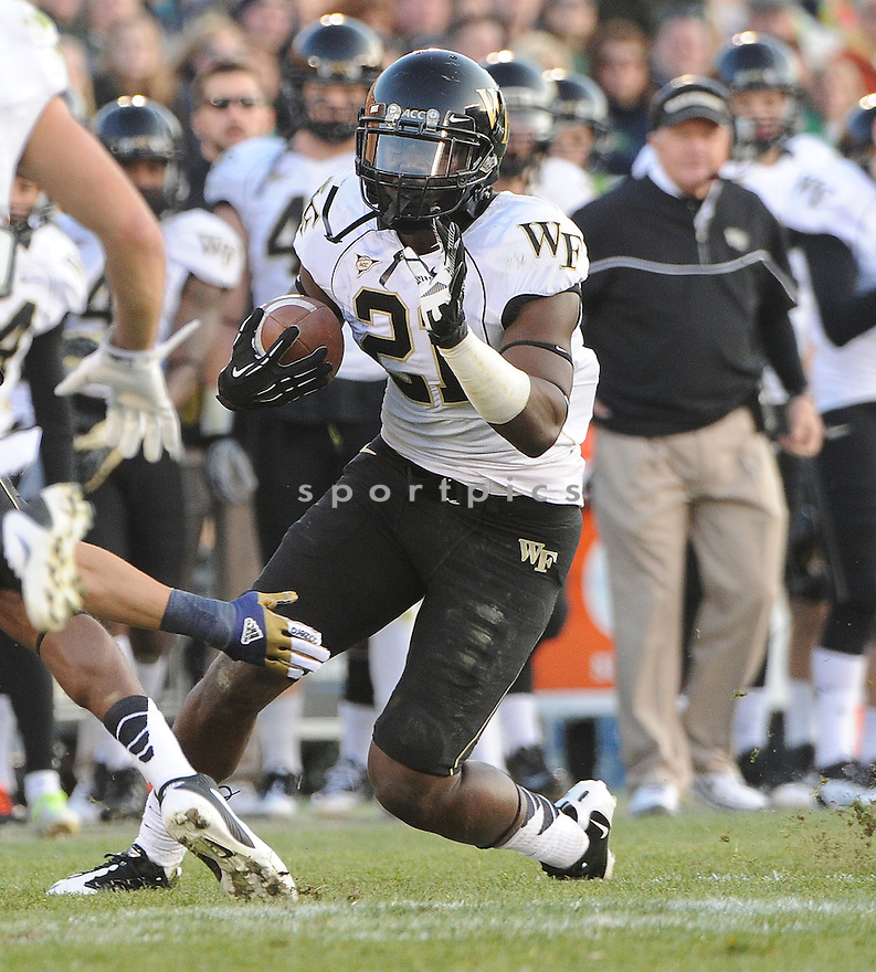 Wake Forest Demon Deacons Deandre Martin (21) in action during a game against Notre Dame on November 17, 2012 at Notre Dame Stadium in South Bend, IN. Notre Dame beat Wake Forest 38-0.