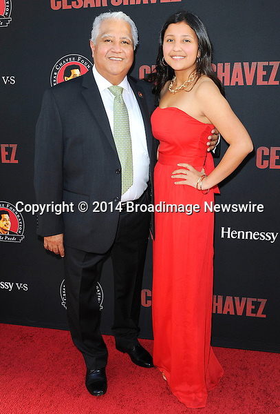Pictured: Paul Chavez, Daniela Chavez<br /> Mandatory Credit &copy; Adhemar Sburlati/Broadimage<br /> Film Premiere of Cesar Chavez<br /> <br /> 3/20/14, Hollywood, California, United States of America<br /> <br /> Broadimage Newswire<br /> Los Angeles 1+  (310) 301-1027<br /> New York      1+  (646) 827-9134<br /> sales@broadimage.com<br /> http://www.broadimage.com