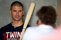 Minnesota Twins first baseman Joe Mauer (7) poses for a photo during media day before a Spring Training practice on February 21, 2018 at Hammond Stadium at CenturyLink Sports Complex in Fort Myers, Florida.  (Mike Janes/Four Seam Images)
