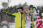 10th February 2019, Are, Sweden; Alpine skiing: Combination, ladies: downhill;  Former ski racer Ingemar Stenmark (l) from Sweden stands next to the winner of the bronze medal, Lindsey Vonn from the USA.