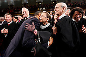 United States President Barack Obama hugs Justice Ruth Bader Ginsburg on Capitol Hill in Washington, Tuesday, Jan. 25, 2011, prior to delivering his State of the Union address. From left are, Chief Justice John Roberts, Justice Anthony Kennedy, the president, Justice Ginsburg and Justice Stephen Breyer.  .Credit: Pablo Martinez Monsivais / Pool via CNP