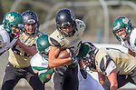Palos Verdes, CA 10/25/13 - Rory Hubbard (Peninsula #22) and Brandon Mills (Mira Costa #27) in action during the Mira Costa vs Peninsula varsity football game at Palos Verdes Peninsula High School.