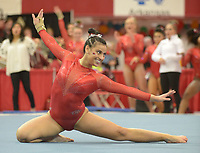 NWA Democrat-Gazette/ANDY SHUPE<br />Arkansas' Sophia Carter competes Friday, Jan. 12, 2018, in the floor portion of the 11th-ranked Razorbacks' meet with sixth-ranked Kentucky in Barnhill Arena in Fayetteville. Visit nwadg.com/photos to see more photographs from the meet.