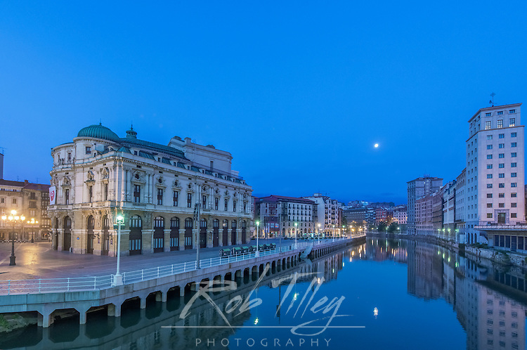 Spain, Bilbao, Ariaga Theater and Nervion River at Dawn