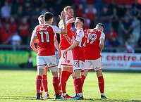 Fleetwood Town&rsquo;s Ashley Hunter  celebrates scoring his sides goal with team mates<br /> <br /> Photographer Leila Coker/CameraSport<br /> <br /> The EFL Sky Bet League One - Fleetwood Town v Walsall - Saturday 5th May 2018 - Highbury Stadium - Fleetwood<br /> <br /> World Copyright &copy; 2018 CameraSport. All rights reserved. 43 Linden Ave. Countesthorpe. Leicester. England. LE8 5PG - Tel: +44 (0) 116 277 4147 - admin@camerasport.com - www.camerasport.com