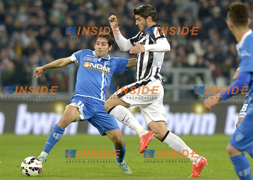 Alvaro Morata Juventus, Daniele Croce Empoli,<br /> Torino 04-04-2015, Juventus Stadium, Football Calcio 2014/2015 Serie A, Juventus - Empoli, Foto Filippo Alfero/Insidefoto