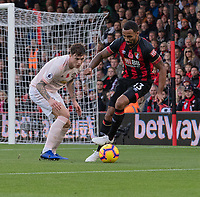 Bournemouth's Callum Wilson (right) under pressure from Manchester United's Victor Lindelof (right) <br /> <br /> Photographer David Horton/CameraSport<br /> <br /> The Premier League - Bournemouth v Manchester United - Saturday 3rd November 2018 - Vitality Stadium - Bournemouth<br /> <br /> World Copyright &copy; 2018 CameraSport. All rights reserved. 43 Linden Ave. Countesthorpe. Leicester. England. LE8 5PG - Tel: +44 (0) 116 277 4147 - admin@camerasport.com - www.camerasport.com