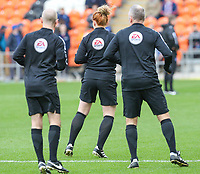 Referee Jon Moss warms up with his colleagues Helen Byrne and Oliver Bickle<br /> <br /> Photographer Alex Dodd/CameraSport<br /> <br /> The EFL Sky Bet League One - Blackpool v Portsmouth - Saturday 11th November 2017 - Bloomfield Road - Blackpool<br /> <br /> World Copyright &copy; 2017 CameraSport. All rights reserved. 43 Linden Ave. Countesthorpe. Leicester. England. LE8 5PG - Tel: +44 (0) 116 277 4147 - admin@camerasport.com - www.camerasport.com