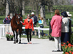 April 23, 2014: Rafferty's Rules and Sharon White during the first horse inspection at the Rolex Three Day Event in Lexington, KY at the Kentucky Horse Park.  Candice Chavez/ESW/CSM