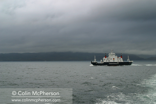 The Caledonian-MacBrayne roll-on roll-off ferry Corruisk sets sail from Mallaig, Highlands, on Scotland's west coast to Armadale on the Isle of Skye.