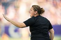 Orlando, FL - Sunday May 08, 2016: Seattle Reign FC head coach Laura Harvey during a regular season National Women's Soccer League (NWSL) match at Camping World Stadium.