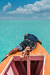 Checking the depth off the coast of Kiritimati in Kiribati