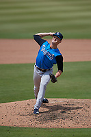 Tampa Tarpons relief pitcher Hobbie Harris (14) during a Florida State League game against the Bradenton Marauders on May 26, 2019 at LECOM Park in Bradenton, Florida.  Bradenton defeated Tampa 3-1.  (Mike Janes/Four Seam Images)