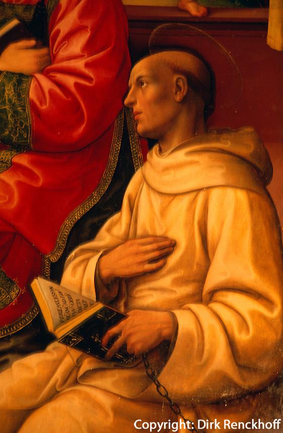 Italien, Toskana, Florenz, in Santo Spirito, Detail des Gemaeldes Madonna mit Kind von Raffaelino