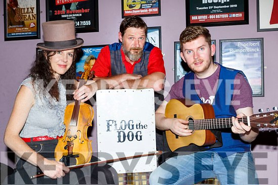 Flog the Dog  band members Tanya, Paul Finch and Steve Clifford who are preparing for a trip to Scotland in the next few weeks