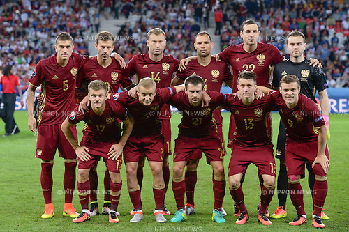Roman Neustadter (Russia) Fedor Smolov (Russia) Vasili Berezutski (Russia) Sergei Ignashevich (Russia) Artem Dzyuba (Russia) Igor Akinfeev (Russia) Oleg Shatov (Russia) Igor Smolnikov (Russia) Georgi Schennikov (Russia) Aleksandr Golovin (Russia) Aleksandr Kokorin (Russia) Team (Russia) ; <br /> June 15, 2016 - Football : Uefa Euro France 2016, Group B, Russia 1-2 Slovakia at Stade Pierre Mauroy, Lille Metropole, France.; Team (Russia) ;(Photo by aicfoto/AFLO)