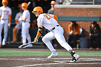 University of Tennessee Jordan Beck (27) runs to first base during a game against Western Illinois at Lindsey Nelson Stadium on February 15, 2020 in Knoxville, Tennessee. The Volunteers defeated Leathernecks 19-0. (Tony Farlow/Four Seam Images)