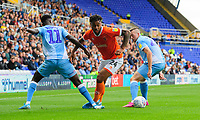 Blackpool's Joe Nuttall vies for possession with Coventry City's Jordy Hiwula<br /> <br /> Photographer Chris Vaughan/CameraSport<br /> <br /> The EFL Sky Bet League One - Coventry City v Blackpool - Saturday 7th September 2019 - St Andrew's - Birmingham<br /> <br /> World Copyright © 2019 CameraSport. All rights reserved. 43 Linden Ave. Countesthorpe. Leicester. England. LE8 5PG - Tel: +44 (0) 116 277 4147 - admin@camerasport.com - www.camerasport.com