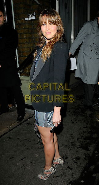 RACHEL STEVENS .At The Best Of British Talent Party, Bar Music Hall, Shoreditch, London, England, UK, January 27th 2010..full length black blazer tux jacket silver grey gray side sandals shoes cut out heels .CAP/CAN.©Can Nguyen/Capital Pictures.
