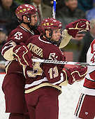 Chris Kreider (BC - 19), Cam Atkinson (BC - 13) - The Boston College Eagles defeated the Harvard University Crimson 3-2 on Wednesday, December 9, 2009, at Bright Hockey Center in Cambridge, Massachusetts.