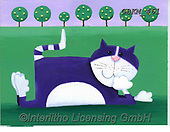Kate, CUTE ANIMALS, LUSTIGE TIERE, ANIMALITOS DIVERTIDOS, paintings+++++Flat cat 2 with scene.,GBKM461,#ac#, EVERYDAY ,cat,cats
