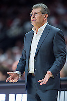 College Park, MD - DEC 29, 2016: Connecticut Huskies head coach Geno Auriemma on the sideline during game between No. 1 UConn and the No. 3 Terrapins at the XFINITY Center in College Park, MD. UConn defeated Maryland 87-81. (Photo by Phil Peters/Media Images International)