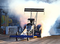 Sep 13, 2013; Charlotte, NC, USA; NHRA top fuel dragster driver Pat Dakin during qualifying for the Carolina Nationals at zMax Dragway. Mandatory Credit: Mark J. Rebilas-