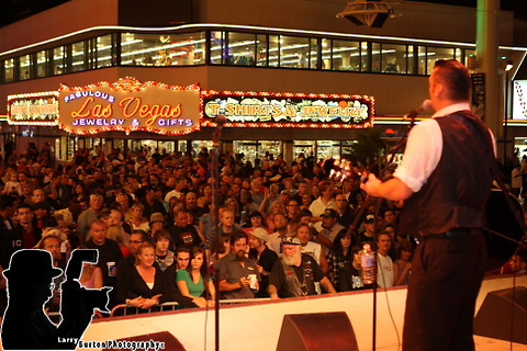 Fremont Street Experience 8th annual BikeFest Viva Vision and live performances by band Cashed Out, and Kelly J