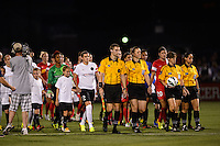 The Portland Thorns and Western New York Flash enter the field for pre-game introductions. The Portland Thorns defeated the Western New York Flash 2-0 during the National Women's Soccer League (NWSL) finals at Sahlen's Stadium in Rochester, NY, on August 31, 2013.