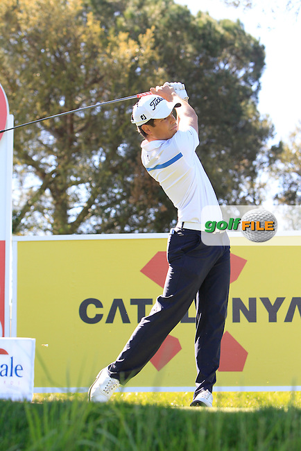 Adrien Saddier (FRA) on the 13th tee during Thursday's Round 1 of The Open De Espana at The PGA Catalunya Resort. 15th May 2014.<br /> Picture:  Thos Caffrey / www.golffile.ie
