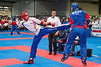 Gold medalist Chirs Aston (L) of Great Britain and silver medalist Jure Drlje (R) of Croatia fight in the 1 PF 052 S M -60 kg final at the WAKO (World Association of Kickboxing Organizations) World Kick-boxing Championships in Budapest, Hungary on Nov. 10, 2017. ATTILA VOLGYI