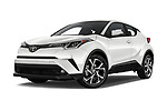 Stock pictures of low aggressive front three quarter view of 2018 Toyota C-HR XLE-Premium 5 Door SUV Low Aggressive