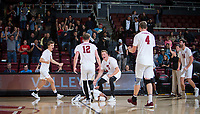 STANFORD, CA - January 17, 2019: Stephen Moye, Jordan Ewert, Eli Wopat, Eric Beatty, Kyler Presho at Maples Pavilion. The Stanford Cardinal defeated UC Irvine 27-25, 17-25, 25-22, and 27-25.