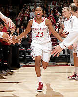 STANFORD, CA - November 30, 2011:  Jasmine Camp is introduced before Stanford's 93-44 victory over UC Davis in Stanford, California on November 30, 2011.