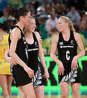 16.09.2012 Silver Ferns Anna Harrison, Camilla Leesa and Laura Langman in action during the first netball test match between the Silver Ferns and the Australian Diamonds played at the Hisense Arena In Melbourne. Mandatory Photo Credit ©Michael Bradley.