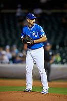 Oklahoma City Dodgers relief pitcher Josh Ravin (17) gets ready to deliver a pitch during a game against the Colorado Springs Sky Sox on June 2, 2017 at Chickasaw Bricktown Ballpark in Oklahoma City, Oklahoma.  Colorado Springs defeated Oklahoma City 1-0 in ten innings.  (Mike Janes/Four Seam Images)