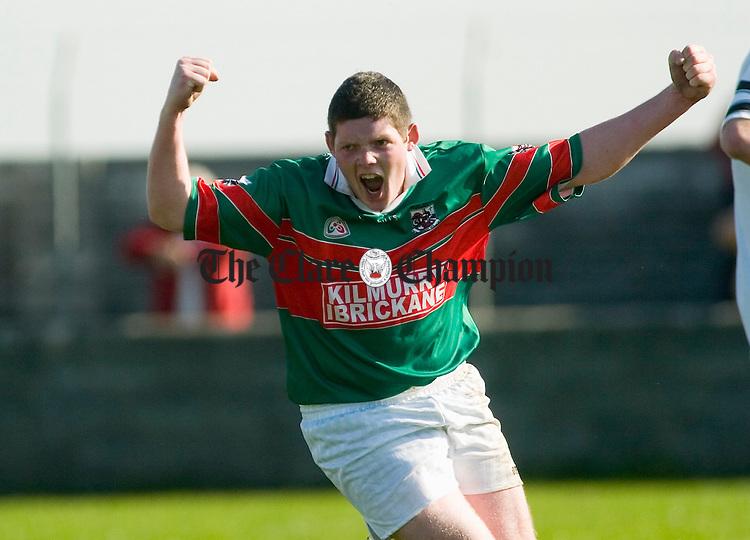 Thomas Lernihan celebrates a late goal for Kiklmurry Ibrickane against Ennistymon during the Minor final at Miltown. Photograph by John Kelly.