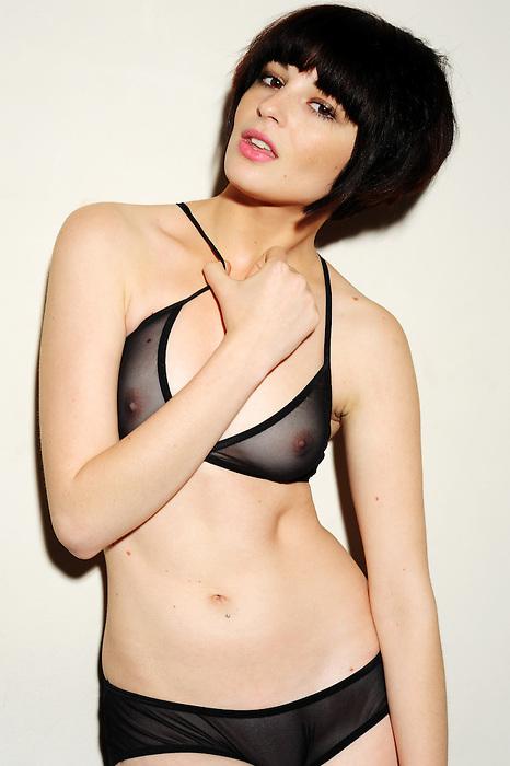 Tess wears Nylon Spandex Micro-Mesh Low Slung Panty and Triangle Cross-Back Bra (Black)