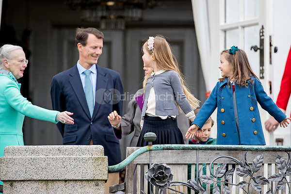 Queen Margrethe, Prince Joachim, Princess Josephine and Princess Athena of Denmark attend the 77th birthday celebrations of Queen Margrethe at Marselisborg palace in Aarhus, Denmark, 16 April 2017. Photo: Patrick van Katwijk Foto: Patrick van Katwijk/Dutch Photo Press/dpa /MediaPunch ***FOR USA ONLY***