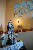 La chiesa di San Gaudenzio è stata completamente ristrutturata ed affrescata nel 1942, da un detenuto della colonia penale..Pianosa Island. The church of San Gaudenzio..