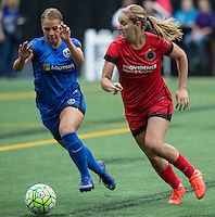 Seattle, WA - Saturday Aug. 27, 2016: Merritt Mathias, Lindsey Horan during a regular season National Women's Soccer League (NWSL) match between the Seattle Reign FC and the Portland Thorns FC at Memorial Stadium.
